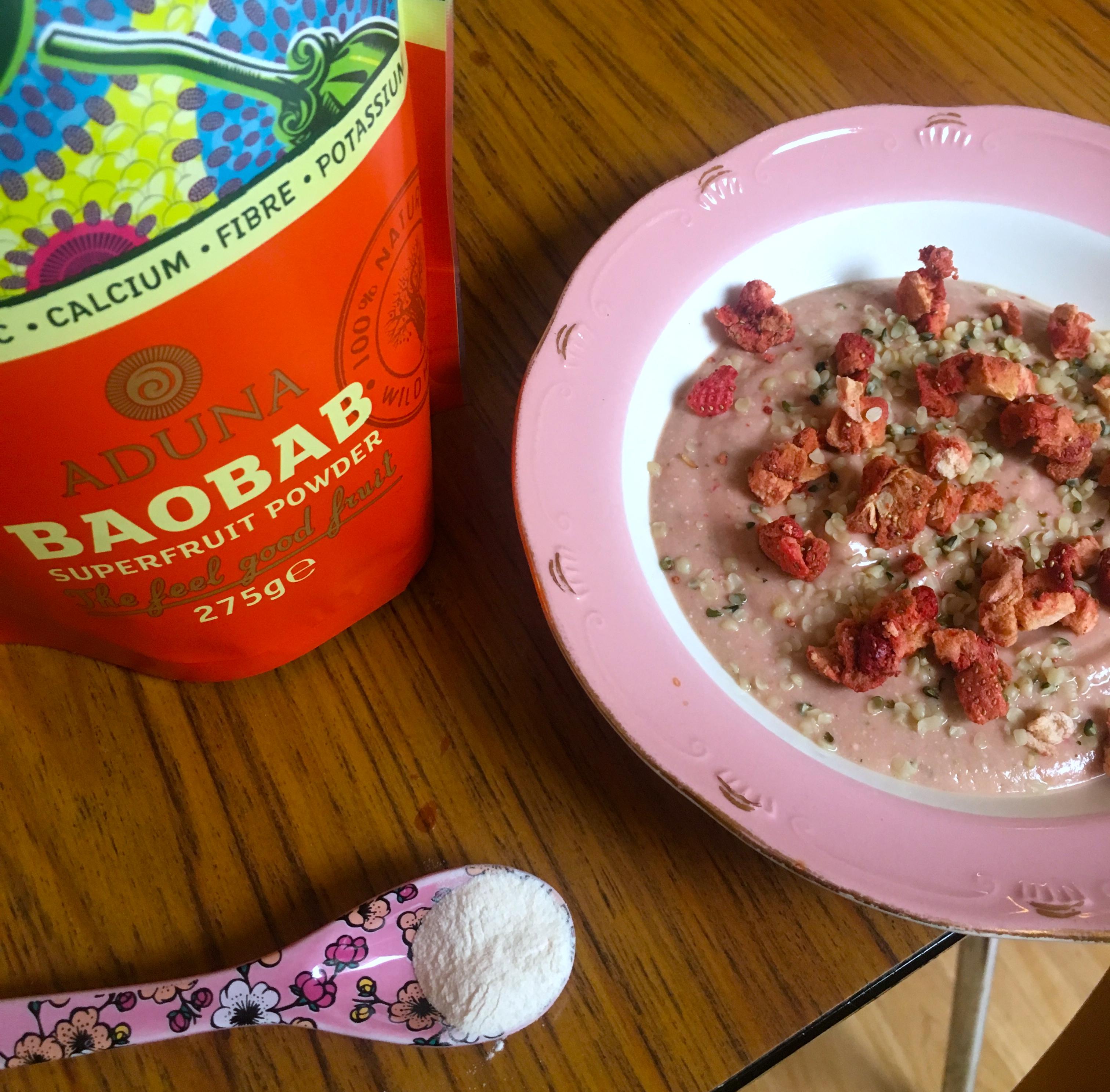 Jordbærsmoothie med baobab